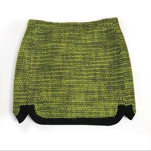 J crew neon piped tweed mini skirt